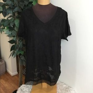 Evri textured floral mineral black short sleeve 3X